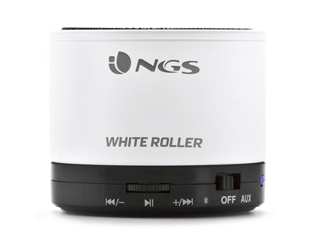 NGS Roller Rechargeable Bluetooth Portable Speaker, White/Black (WHITEROLLER)