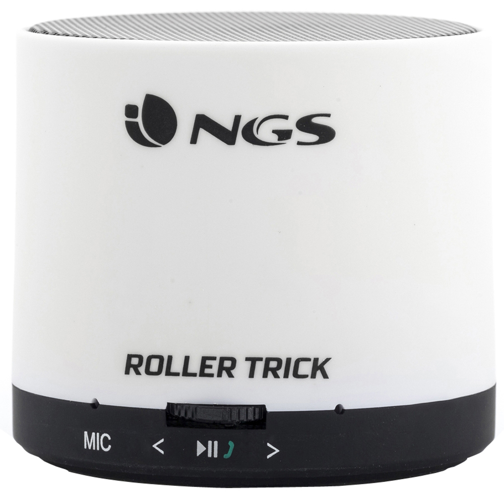 NGS Roller Trick Rechargeable Bluetooth Portable Speaker, White, 3W (WHITEROLLERTRICK)