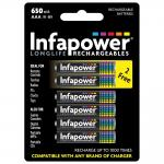 INFAPOWER AAA 650mAh Ni-Mh Rechargeable Batteries, 4 Pack + 2 Extra Free (B011)