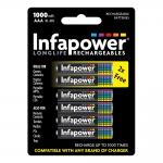 INFAPOWER AAA 1000mAh Ni-Mh Rechargeable Batteries, 4 Pack + 2 Extra Free (B012)