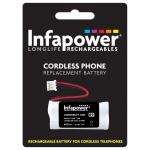 INFAPOWER 600mAh 2.4v AAA Ni-Mh Rechargeable Replacement Batteries with JSP-PHR3 Connector for Cordl