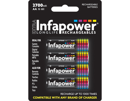 INFAPOWER AA 2700mAh Ni-Mh Rechargeable Batteries, 4 Pack (B004)